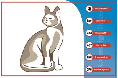 Mascot illustration sitting cat