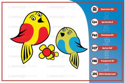 Cartoon character sweet bird mascot design vector