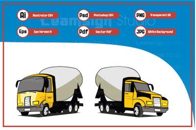 Cartoon illustration concrete trucks design vector