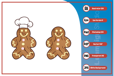 Mascot cartoon character chef gingerbread design vector