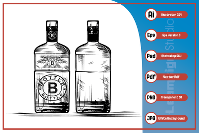 Vector Illustration realistic bottle sketch design