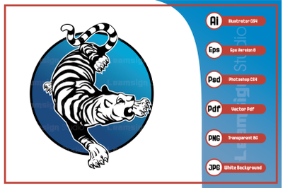 Character illustration tiger logo design