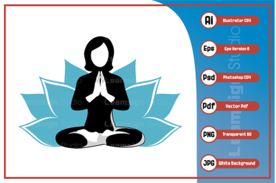 Vector illustration woman doing yoga logo design