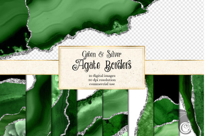 Green and Silver Agate Borders