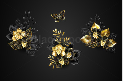 Set of Black Orchids