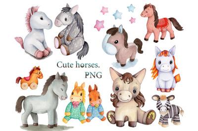 Cute Horses. Set of 11 watercolor illustrations.