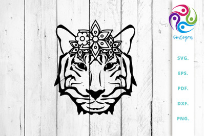 Floral Tiger Head SVG Cut File