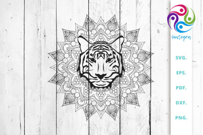 Mandala With Tiger Head SVG Cut File