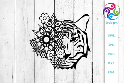 Flowers with Tiger Head SVG Cut File