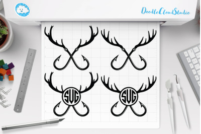 Fishing Hunting SVG, Deer Horns and Hooks SVG.