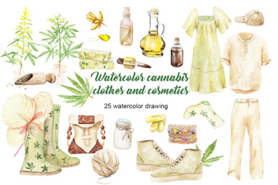 Watercolor cannabis clothes and cosmetics