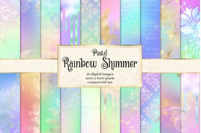 Pastel Rainbow Shimmer Digital Paper