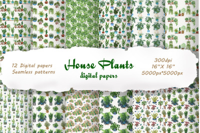 House Plants Digital Papers