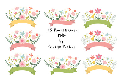 15 Floral Banner Clipart PNG