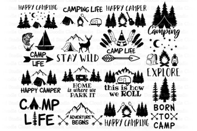 Camping SVG Bundle, Happy Camper, Camping Life, Adventure Begin.