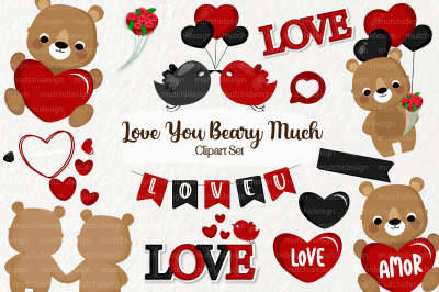 I Love You Beary Much Clipart Set 02