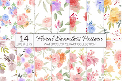 14 watercolor flower seamless pattern