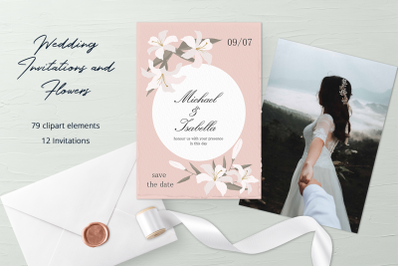 Wedding Invitations and Flowers Clipart Set