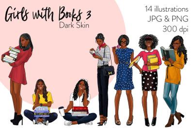 Watercolor Fashion Clipart - Girls with books 3 - Dark Skin