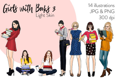 Watercolor Fashion Clipart - Girls with books 3 - Light Skin