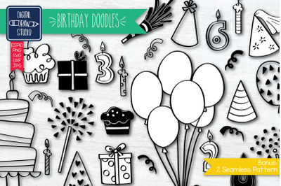 Hand drawn Birthday Doodles | Festive Party Illustration