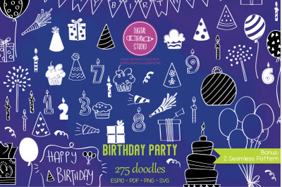 White Birthday Party | Hand drawn Cakes, Candles, Balloons, Banner