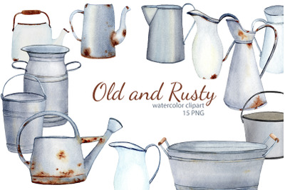 Watercolor Rustic Farmhouse Clipart. Vintage French country enamelware