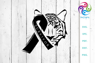 Tiger Head with Awareness Ribbon SVG Cut File