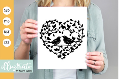 Love Birds Hearts SVG Cut File | Love Heart Clipart