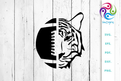 American Football Ball with Tiger Face SVG Cut File