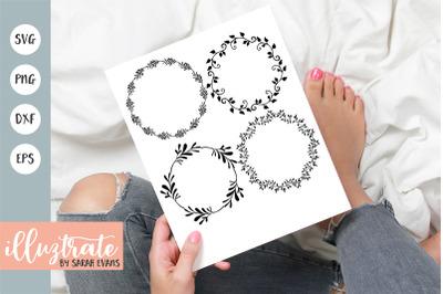 Floral Wreath SVG Cut Files | Decorative Wreath Clipart