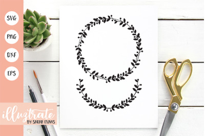 Bold Wreath SVG Cut Files | Decorative Wreath Clipart
