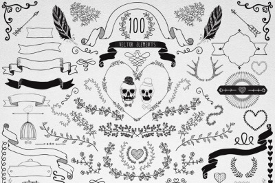 100 Hand Drawn Doodle Vector Design Elements. Decorative objects.