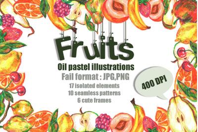 Fruits Oil Pastels illustrations set
