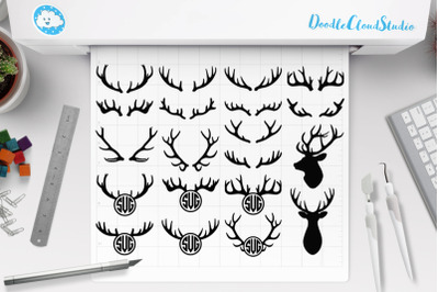 Deer Horns Bundle SVG,  Deer Horns Monogram SVG.