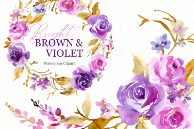Watercolor Purple & Violet Flowers
