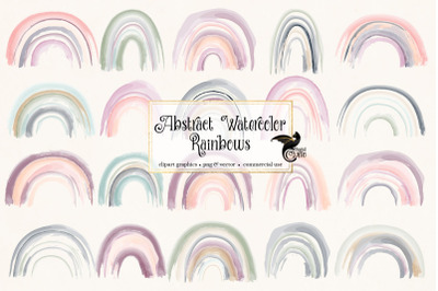 Abstract Watercolor Rainbows Clipart