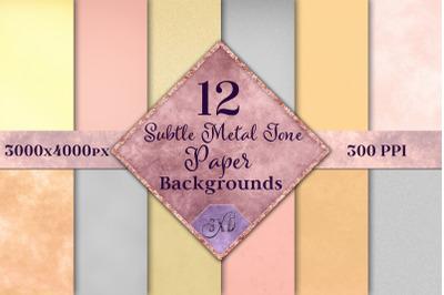 Subtle Metal Tone Paper Backgrounds - 12 Image Textures Set