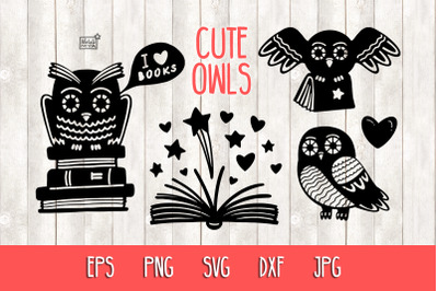 Owls and books - SVG cut files