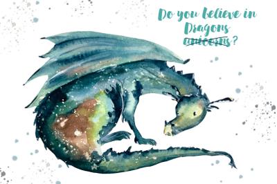 Dragon - Watercolor Print and Clip Art