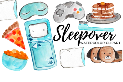 Watercolor boys sleepover clipart