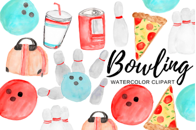 Watercolor bowling clipart