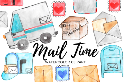 Watercolor mail man clipart