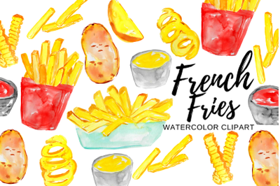 Watercolor french fries clipart