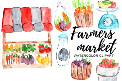 Watercolor farmers market clipart