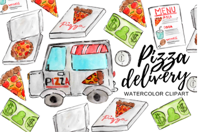 Watercolor Pizzza Delivery clipart