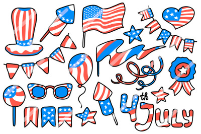4th July USA Independence Day Vector Clipart