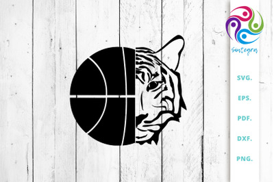 Basketball With Tiger Face SVG Cut File