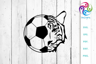 Soccer Football Ball with Tiger Face SVG Cut File