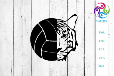 Volleyball Ball with Tiger Head SVG Cut File